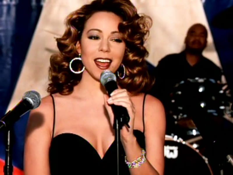 """For her 1998 music video """"I Still Believe,"""" Mariah Carey (admittedly one of Marilyn Monroe's biggest fans) evoked the sexpot's 1954 performance for troops in Korea. Carey kept her locks brunette instead of opting for Marilyn's iconic platinum blonde hair."""