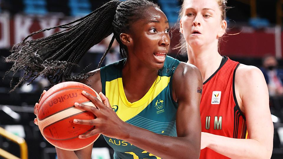 Ezi Magbegor led the Opals with 20 points and eight rebounds against Belgium.