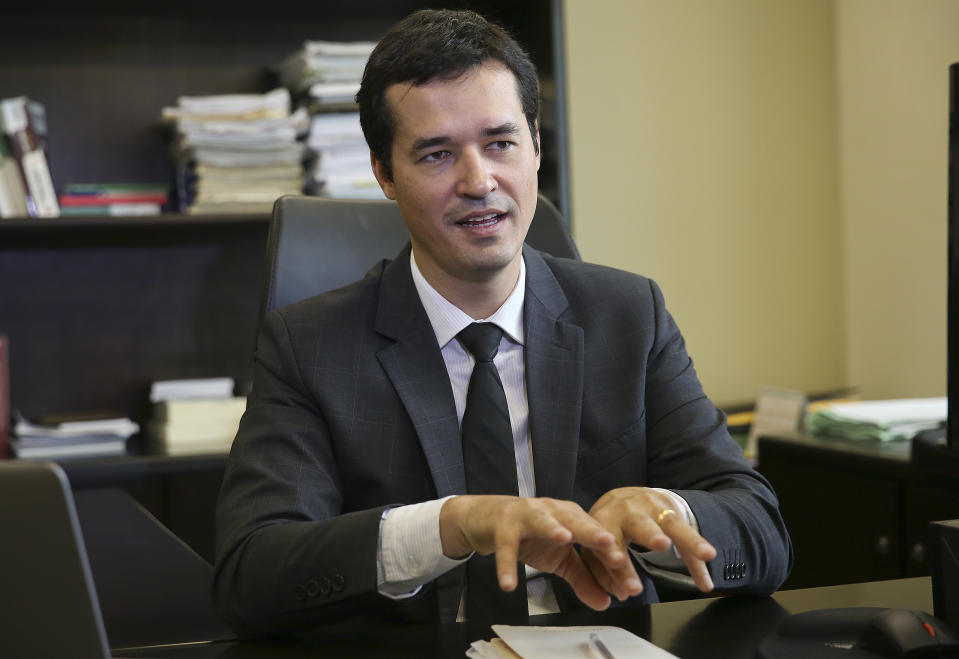 Deltan Dallagnol, the leader federal prosecutor for the Car Wash corruption probe, speaks during a interview in Curitiba, Brazil, Thursday, Jan. 26, 2017. (AP Photo/Andre Penner)
