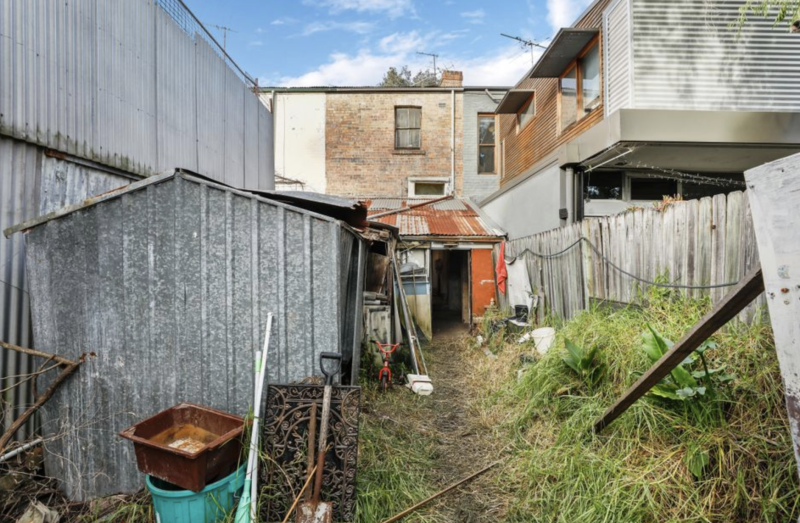 Overgrown grass is seen in the backyard of a Waterloo home in Sydney.