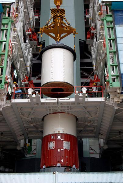 PSLV gets assembled. This is the twenty first flight of the vehicle.