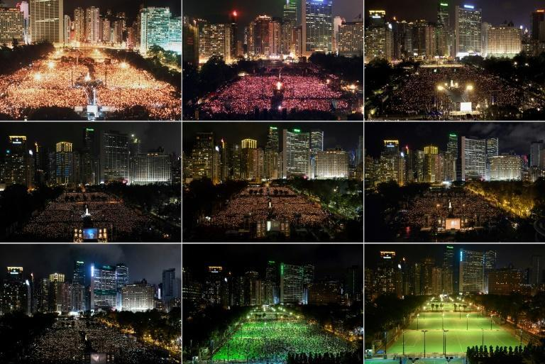 Hong Kong's Victoria Park was cordoned off for the first time in 32 years during the annual Tiananmen anniversary