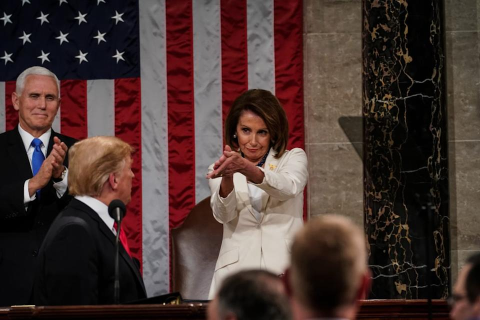 "<div class=""inline-image__caption""><p>Speaker Nancy Pelosi and Vice President Mike Pence applaud U.S. President Donald Trump at the State of the Union address in the chamber of the U.S. House of Representatives at the U.S. Capitol Building on February 5, 2019 in Washington, DC. President Trump's second State of the Union address was postponed one week due to the partial government shutdown. </p></div> <div class=""inline-image__credit"">Doug Mills/Getty</div>"