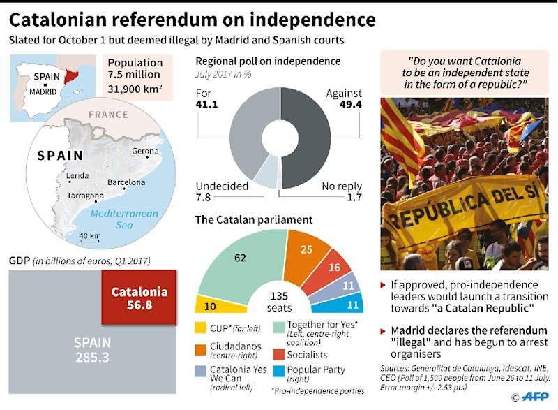 The Spanish government says a planned independence referendum in Catalonia is illegal (AFP Photo/Sonia GONZALEZ)