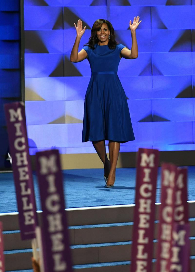 "Obama wore this blue frock by Christian Siriano for the 2016 Democratic National Convention, during which she gave her now-famous ""When they go low, we go high"" speech."