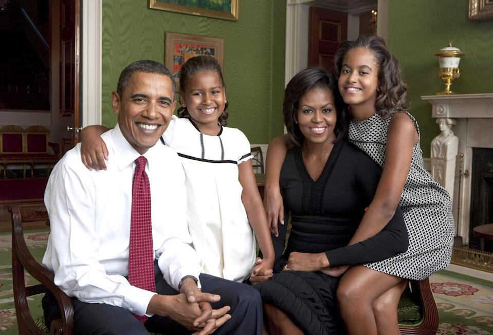 <p>Famed photographer Annie Leibovitz took this photo of Barack, Sasha, Michelle and Malia Obama in the Green Room of the White House in September 2009. </p>