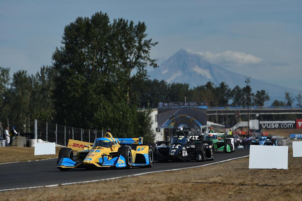 <em>Jimmie Johnson and the rest of the NTT IndyCar Series raced in the shadow of Mt. Hood last weekend (Chris Owens/IndyCar).</em>