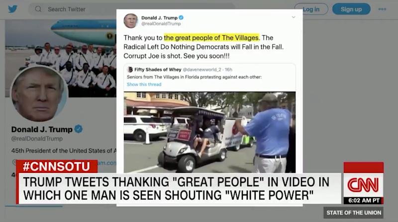 """Screenshot of Trump's tweet, reading: """"Thank you to the great people of The Villages. The Radical Left Do Nothing Democrats will Fall in the Fall. Corrupt Joe is shot. See you soon!!!"""""""