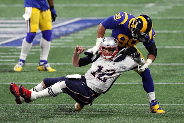 Aaron Donald hits Tom Brady in last season's Super Bowl. (Getty Images)