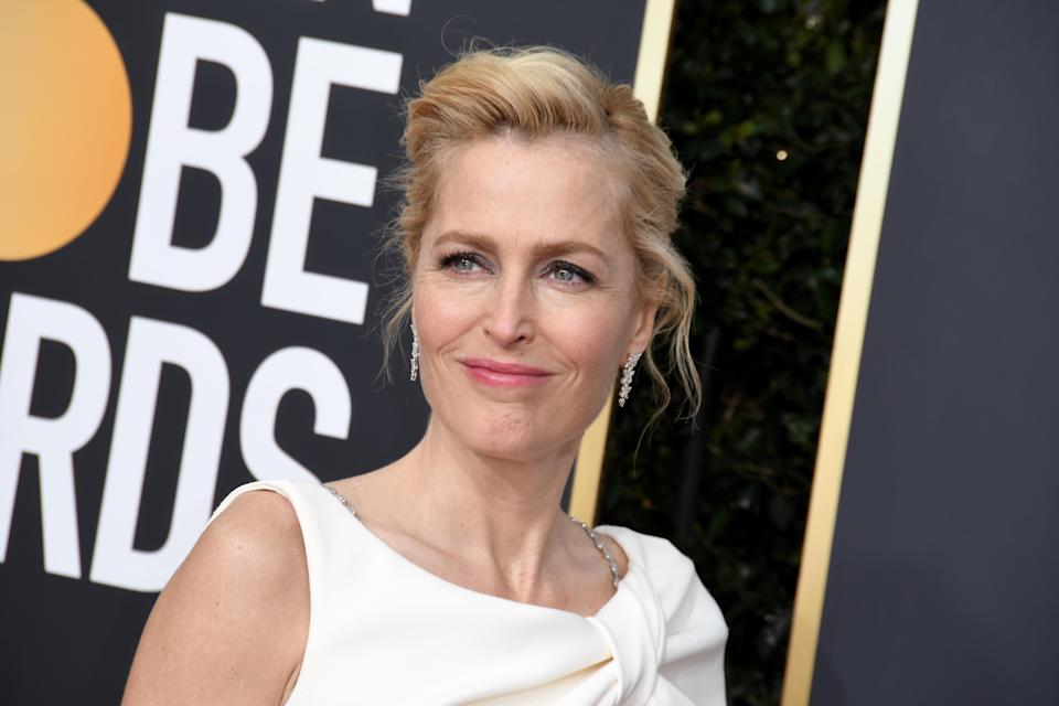 Gillian Anderson arrives at the 77th Golden Globe Awards held at The Beverly Hilton Hotel on January 5, 2020 in Beverly Hills, CA. (Photo by Sthanlee B. Mirador/Sipa USA)