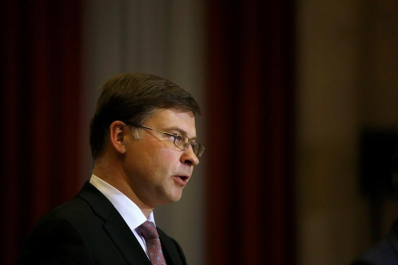 European Commission Vice-President Dombrovskis and Portugal's Finance Minister Centeno hold a news conference at Finance Ministry in Lisbon