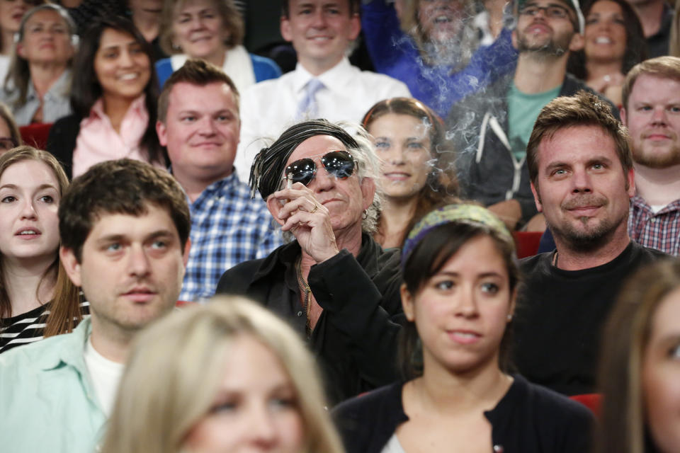Keith Richards sits among the studio audience of Late Night With Jimmy Fallon, April 8, 2013. (Photo by: Lloyd Bishop/NBCU Photo Bank/NBCUniversal via Getty Images)