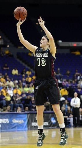 Green Bay guard Adrian Ritchie (13) shoots to score during the first half of a first-round game in the women's NCAA college basketball tournament at the Pete Maravich Assembly Center in Baton Rouge, La., Sunday, March 24, 2013. (AP Photo/Bill Feig)