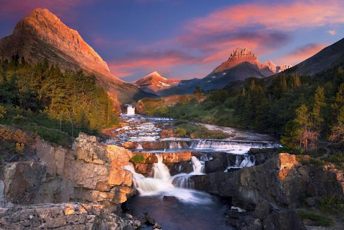 <p>Glacier National Park sits atop the continental divide and the Swiftcurrent Creek is just one of the gorgeous natural spots in the park. </p>