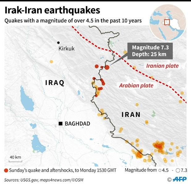 Map showing the epicenter of Sunday's 7.3-magnitude earthquake on the Iran-Iraq border, with aftershocks as well as earthquakes in the immediate region in the past ten years