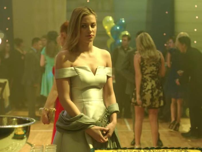 For the dance at Riverdale High School, Betty wore a light-blue dress.