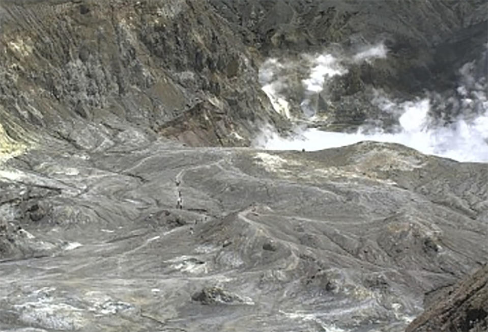 Tourists can be seen on a trail near the volcano's crater on Monday (Picture: AP)
