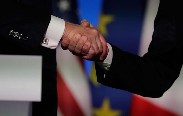 "<p>President Donald Trump, left, shakes hands with French President Emmanuel Macron after a press confrence at the Elysee Palace in Paris, Thursday, July 13, 2017. Trump says the two nations have ""occasional disagreements"" but that doesn't disrupt a friendship that dates to the American Revolution. (Photo: Markus Schreiber/AP) </p>"