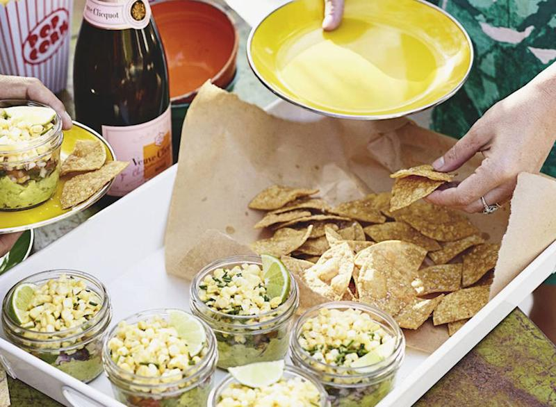 layered corn guacamole
