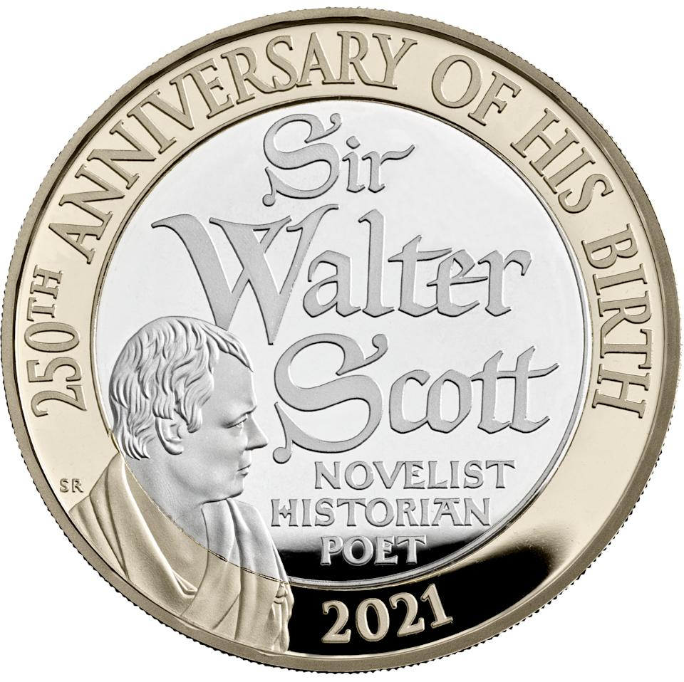 EMBARGOED TO 0001 MONDAY JANUARY 04 Undated handout photo issued by the Royal Mint of a new GBP 2 coin commemorating the 250th anniversary of the birth of Sir Walter Scott which is part of a range of new designs that will be appearing on British coins throughout 2021.