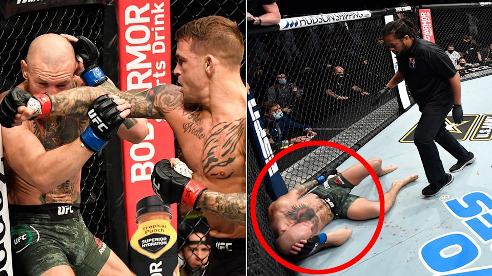 Pictured here, Dustin Poirier hits Conor McGregor to leave the Irishman on the canvas.
