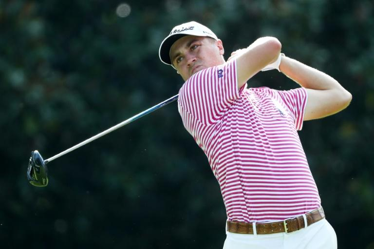 Justin Thomas of the US plays his shot from the 14th tee during the second round of the TOUR Championship, at East Lake Golf Club in Atlanta, Georgia, on September 22, 2017