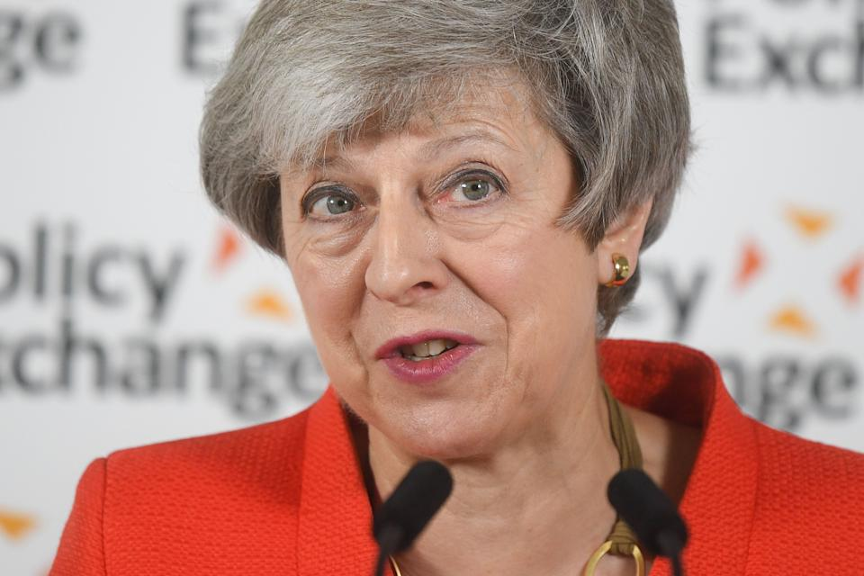 LONDON, ENGLAND - MAY 30: Britain's Prime Minister Theresa May gives a speech in response to the Augar Review into post-18 education on May 30, 2019 in central London, England. (Photo by Daniel Leal- Olivas - WPA Pool/Getty Images)