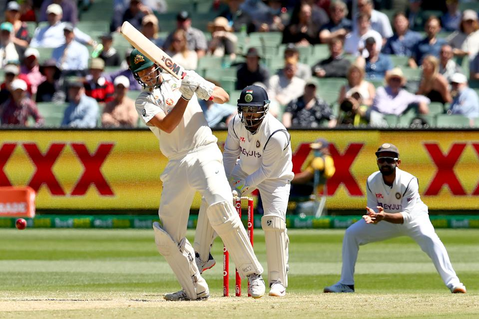 Cameron Green of Australia bats during day four of the Second Test match between Australia and India at Melbourne Cricket Ground on December 29, 2020 in Melbourne, Australia.