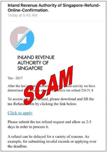 Image of the scam IRAS email. (PHOTO: Inland Revenue Authority of Singapore)