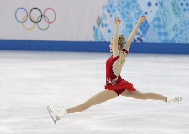 Gracie Gold of the United States competes in the women's short program figure skating competition at the Iceberg Skating Palace during the 2014 Winter Olympics, Wednesday, Feb. 19, 2014, in Sochi, Russia. (AP Photo/Darron Cummings)