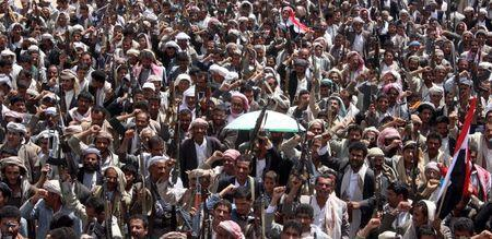 Followers of the Houthi movement demonstrate to show support to the movement in Yemen's northwestern city of Saada March 26, 2015. REUTERS/Naiyf Rahma