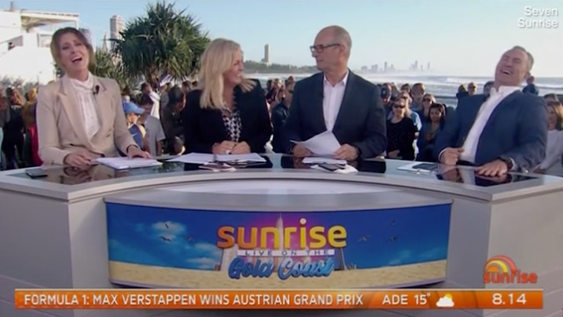 A screenshot of the Sunrise cast on set.