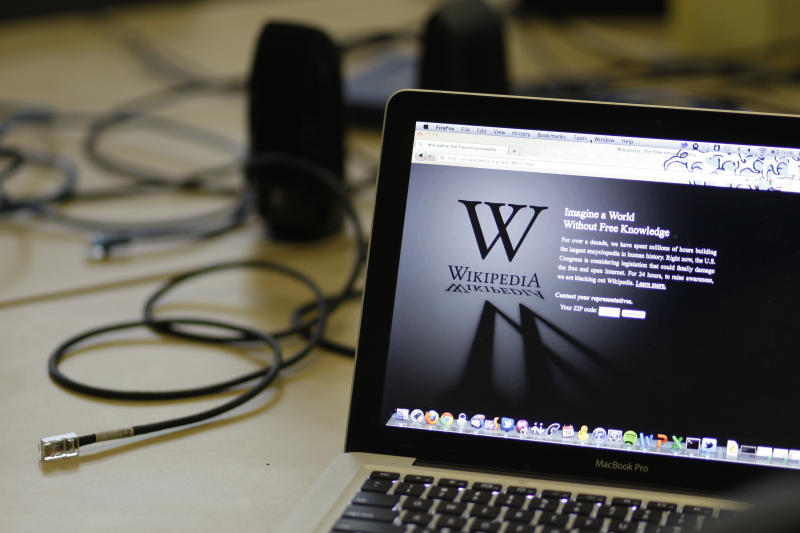"""FILE  - In this Wednesday, Jan. 18, 2012 file photo, a blackout landing page is displayed on a laptop computer screen inside the """"Anti-Sopa War Room"""" at the offices of the Wikipedia Foundation in San Francisco.  In a move that social media users called censorship, a Turkish court on Saturday, April 29, 2017 blocked access to Wikipedia, the free online encyclopedia, enforcing an earlier restriction by Turkey's telecommunications watchdog. (AP Photo/Eric Risberg, File)"""
