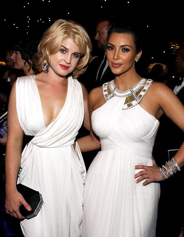 """Kelly Osbourne and Kim Kardashian caught up at the Governor's Ball following the 62nd Annual Primetime Emmy Awards at the Nokia Theatre in Los Angeles. While neither of the reality stars took home any trophies, both received props for their fab frocks. Mathew Imaging/<a href=""""http://www.wireimage.com"""" target=""""new"""">WireImage.com</a> - August 29, 2010"""
