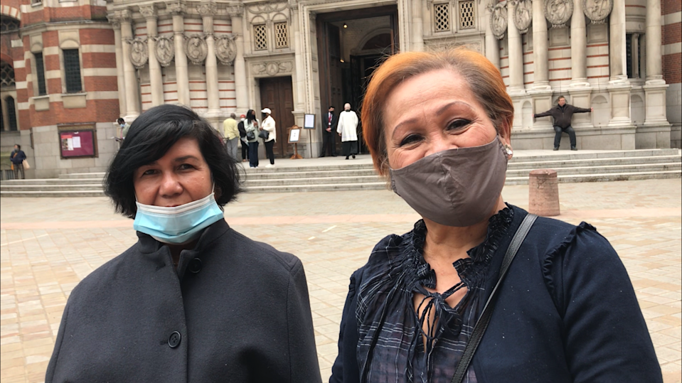 Retired real estate broker from Fulham, Norilyn King, 64 (left) and retired hospital carer, Herminia Supan, 73 (right) (Laura Parnaby/PA).
