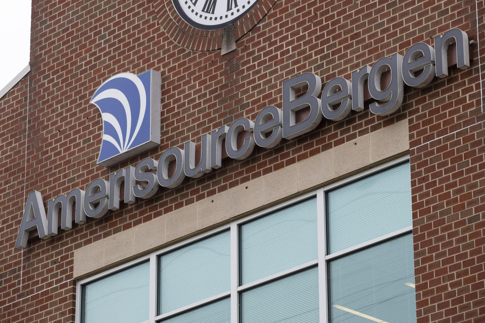 FILE - This Oct. 16, 2019, file photos shows an AmerisourceBergen Corp. office building in Conshohocken, Pa. A $26 billion settlement between the three biggest U.S. drug distribution companies and drugmaker Johnson & Johnson and thousands of states and municipalities that sued over the toll of the opioid crisis is certainly significant, but it is far from tying a neat bow on the tangle of still unresolved lawsuits surrounding the epidemic. (AP Photo/Matt Rourke, File)