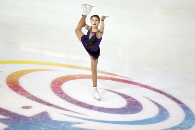 Alena Kostornaia of Russia competes in the Ladies Free Skating during the ISU figure skating France's Trophy, in Grenoble, French Alps, France, Saturday, Nov. 2, 2019. (AP Photo/Francois Mori)