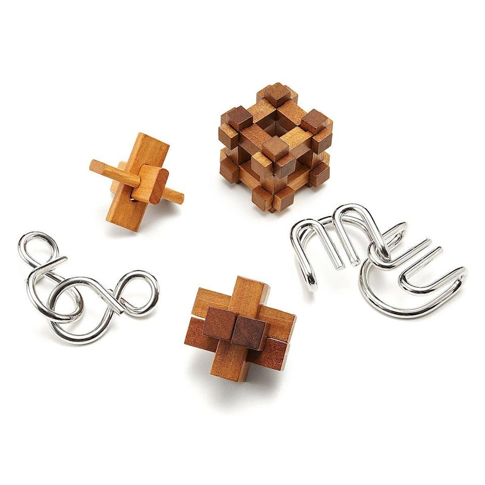 <p>Designed to engage your puzzle-loving mind, this set of <span>Great Minds Puzzles</span> ($20 for set of 5) will keep everyone entertained.</p>