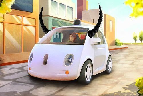 Driverless car with devil's horns