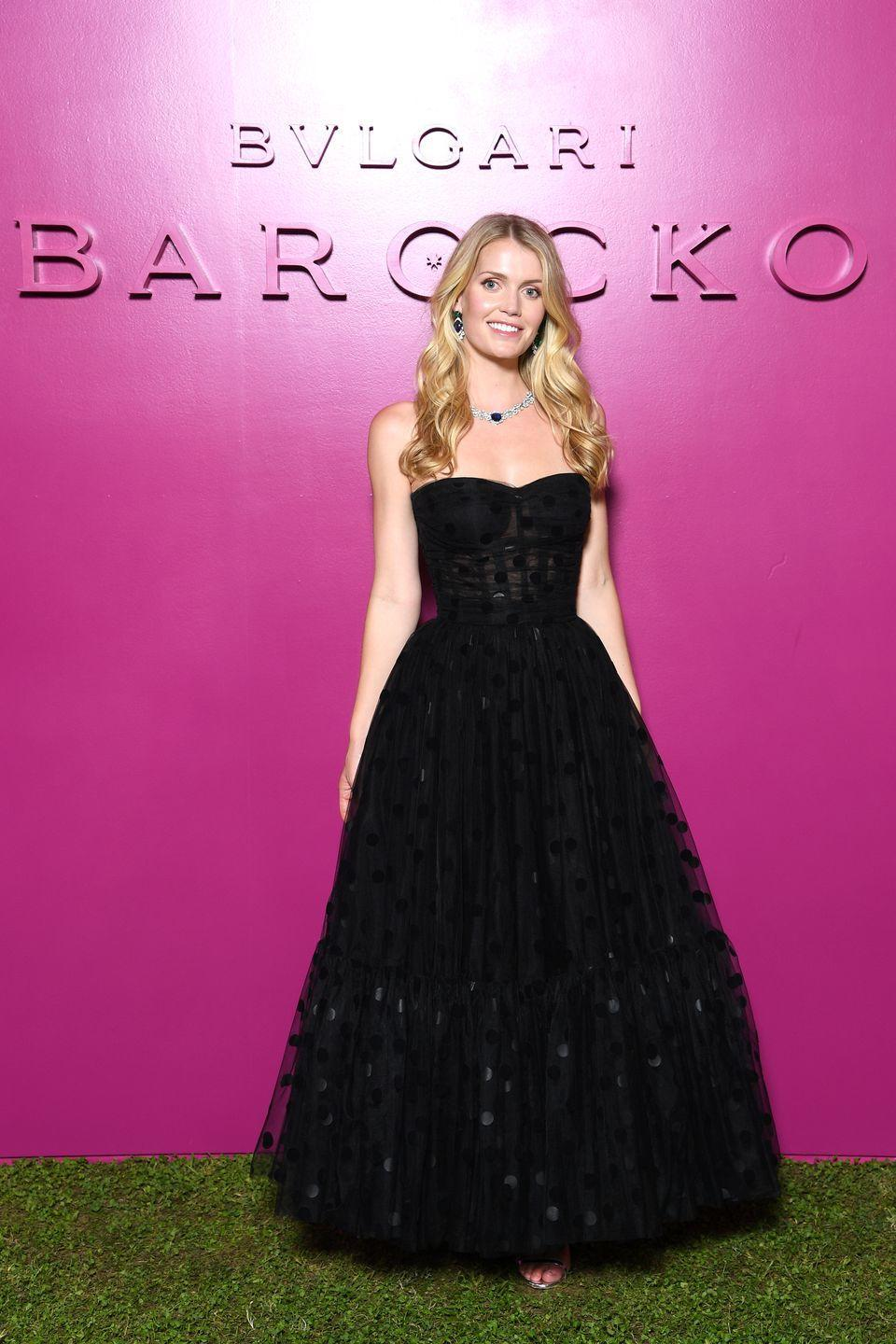 <p><strong>15 September</strong> Kitty Spencer wore a tulle Dolce & Gabbana ball gown with Bulgari jewellery to the Bulgari Barocko event in Rome.</p>