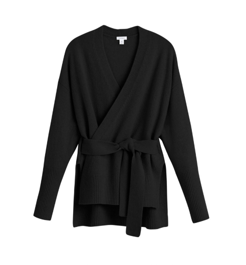 Cuyana Recycled Cashmere Soft Wrap Sweater in black