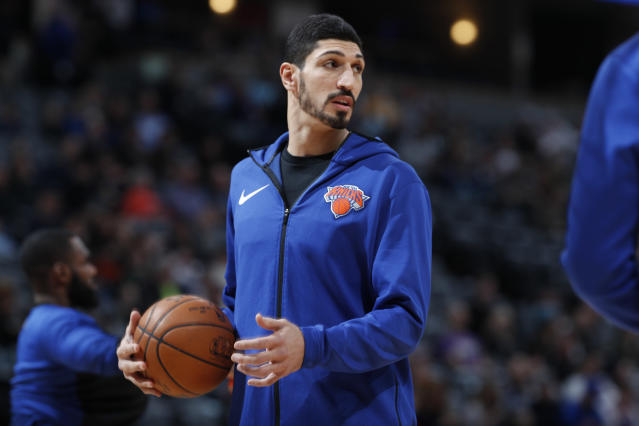 "<a class=""link rapid-noclick-resp"" href=""/nba/players/4899/"" data-ylk=""slk:Enes Kanter"">Enes Kanter</a> has been an outspoken critic of Turkish president Recep Tayyip Erdoğan. (AP Photo/David Zalubowski)"