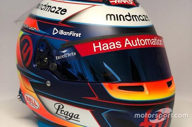 "Casco de Romain Grosjean, Haas F1 Team <span class=""copyright"">Haas F1 Team</span>"