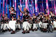"""<p>The 2014 Olympic uniforms took stars and stripes to a whole new level with knit patchwork cardigans, white turtlenecks and matching fleece pants, and, best of all, <a href=""""https://www.today.com/news/patriotic-style-team-usa-reveals-olympic-opening-ceremony-uniforms-2D11970728"""" class=""""link rapid-noclick-resp"""" rel=""""nofollow noopener"""" target=""""_blank"""" data-ylk=""""slk:reindeer printed hats"""">reindeer printed hats</a>. </p>"""