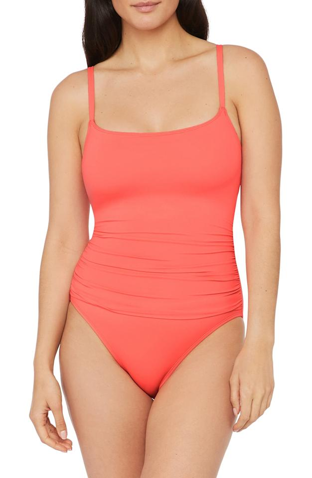 """<p>Bring some color to the beach in this <a href=""""https://www.popsugar.com/buy/La-Blanca-Island-Goddess-One-Piece-Swimsuit-556137?p_name=La%20Blanca%20Island%20Goddess%20One-Piece%20Swimsuit&retailer=shop.nordstrom.com&pid=556137&price=79&evar1=fab%3Aus&evar9=47301006&evar98=https%3A%2F%2Fwww.popsugar.com%2Ffashion%2Fphoto-gallery%2F47301006%2Fimage%2F47301030%2FLa-Blanca-Island-Goddess-One-Piece-Swimsuit&list1=shopping%2Cnordstrom%2Cone-piece%2Cswimsuits%2Cbikinis&prop13=mobile&pdata=1"""" rel=""""nofollow"""" data-shoppable-link=""""1"""" target=""""_blank"""" class=""""ga-track"""" data-ga-category=""""Related"""" data-ga-label=""""https://shop.nordstrom.com/s/la-blanca-island-goddess-one-piece-swimsuit/4451150/full?origin=category-personalizedsort&amp;breadcrumb=Home%2FWomen%2FClothing%2FSwimsuits%20%26%20Cover-Ups%2FOne-Pieces&amp;color=birds%20of%20paradise"""" data-ga-action=""""In-Line Links"""">La Blanca Island Goddess One-Piece Swimsuit</a> ($79).</p>"""