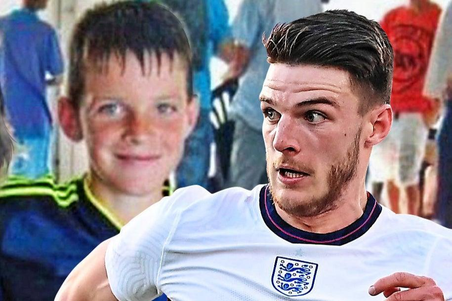Declan Rice as a schoolboy and playing for England ( )