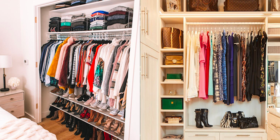 "<p>Whether your closet is small or a sprawling walk-in, chances are you probably feel like you don't have enough space to keep everything you own orderly. But having an organized closet isn't the insurmountable challenge it may appear to be—and, no, you don't need to spend a fortune on a built-in system. </p><p>From the most basic tricks—using matching slim felt hangers to keep clothes from slipping—to more surprising hacks—adding acrylic file folders to organize a handbag collection—there are plenty of DIY solutions that can help you maximize your closet's footprint (and <a href=""https://www.oprahmag.com/life/health/a27608924/how-to-relax/"" rel=""nofollow noopener"" target=""_blank"" data-ylk=""slk:reduce some of the stress in your life!"" class=""link rapid-noclick-resp"">reduce some of the stress in your life!</a>). And, if you're really inspired, there are even some more constructive solutions, like adding an island for extra storage space, or maximizing the area at the top of the closet.</p><p>Ready to say goodbye to disheveled shelves and hanging rods and take back control of your closet? We've rounded up some of our favorite Pinterest-worthy ideas for organizing a closet filled with lots of clothes. We're talking everything from <a href=""https://www.oprahmag.com/style/g29527252/cute-christmas-sweaters/"" rel=""nofollow noopener"" target=""_blank"" data-ylk=""slk:bulky sweaters"" class=""link rapid-noclick-resp"">bulky sweaters</a>, to <a href=""https://www.oprahmag.com/style/g29863273/most-comfortable-sneakers/"" rel=""nofollow noopener"" target=""_blank"" data-ylk=""slk:sneakers"" class=""link rapid-noclick-resp"">sneakers</a>, and <a href=""https://www.oprahmag.com/style/g25691876/best-weekender-bags-women/"" rel=""nofollow noopener"" target=""_blank"" data-ylk=""slk:travel bags"" class=""link rapid-noclick-resp"">travel bags</a>. No <a href=""https://www.oprahmag.com/entertainment/books/a25800198/netflix-tidying-up-marie-kondo-book-advice/"" rel=""nofollow noopener"" target=""_blank"" data-ylk=""slk:Kondo-ing"" class=""link rapid-noclick-resp"">Kondo-ing</a> needed! <br></p>"