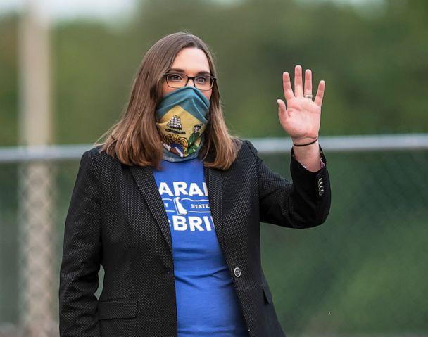 PHOTO: FILE - Transgender activist and Senate hopeful Sarah McBride campaigns at the Claymont Boys & Girls Club in Claymont, Del., Sept. 15, 2020. (Jason Minto/AP, FILE)