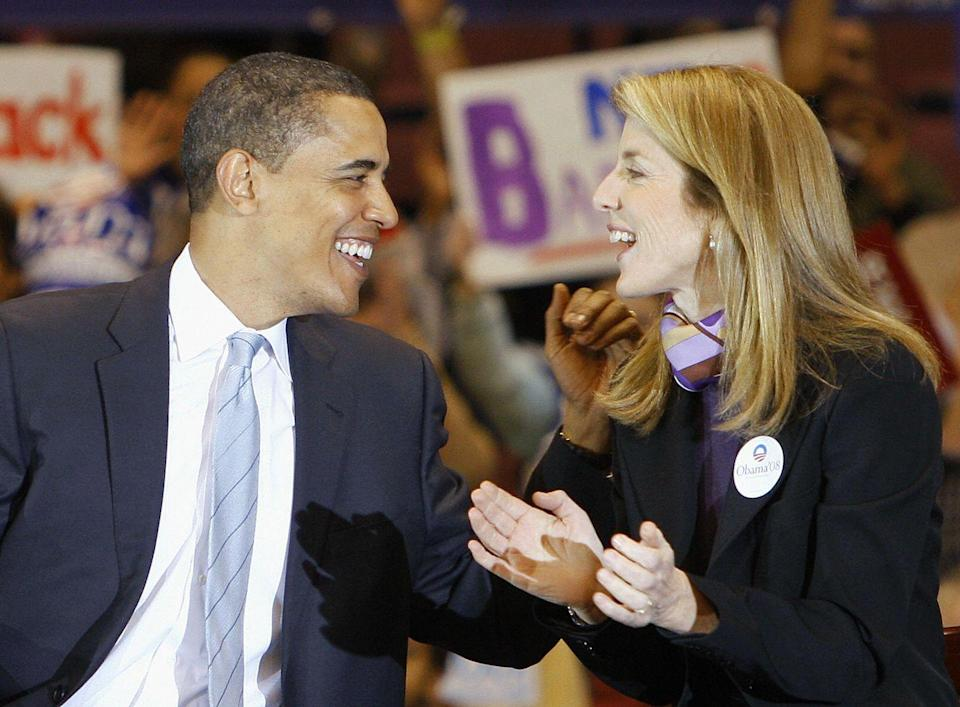 <p>Then US Democratic presidential candidate Illinois Senator Barack Obama receives the support of Caroline Kennedy during a rally in East Rutherford, New Jersey, on February 4, 2008.</p>