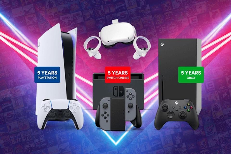 A PlayStation 5, Nintendo Switch, and Xbox Series S